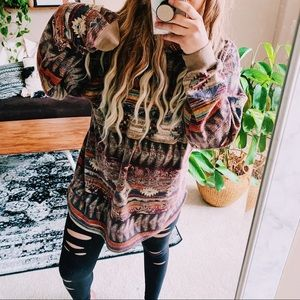 Vintage PFI aztec boho long oversized hoodie p4